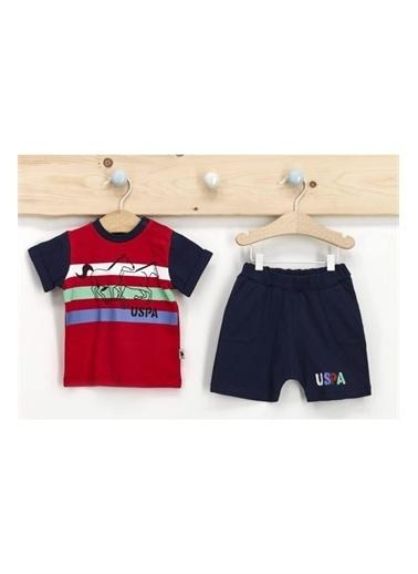 U.S. Polo Assn. Lisanslı Krem Erkek Bebek T-Shirt Takım Kırmızı